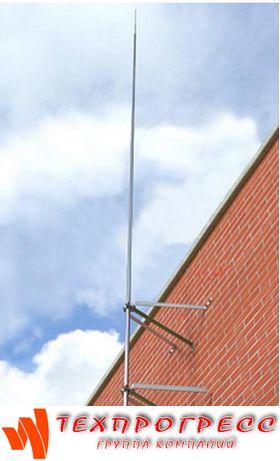 Молниеприёмник-мачта вертикальный 8 м с комплектом из 2х креплений к стене (нерж. сталь)