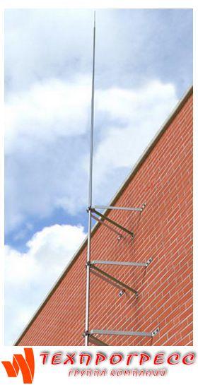 Молниеприёмник-мачта вертикальный 10 м с комплектом из 3х креплений к стене (нерж. сталь)